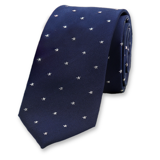 Dark Blue Necktie with Silver Stars- Silk (1)