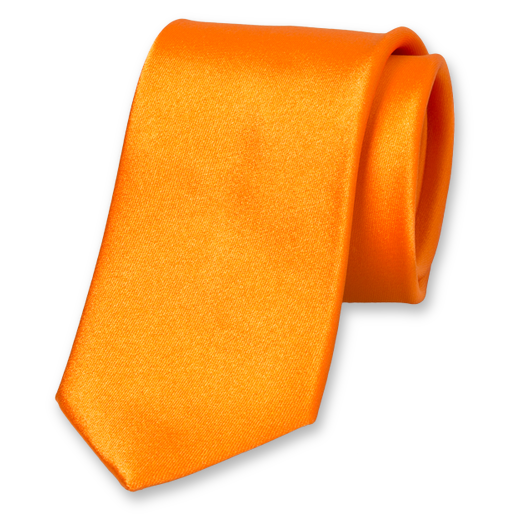 Orange satin silk tie (1)