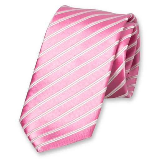 Pink-White Striped Tie - Silk (1)