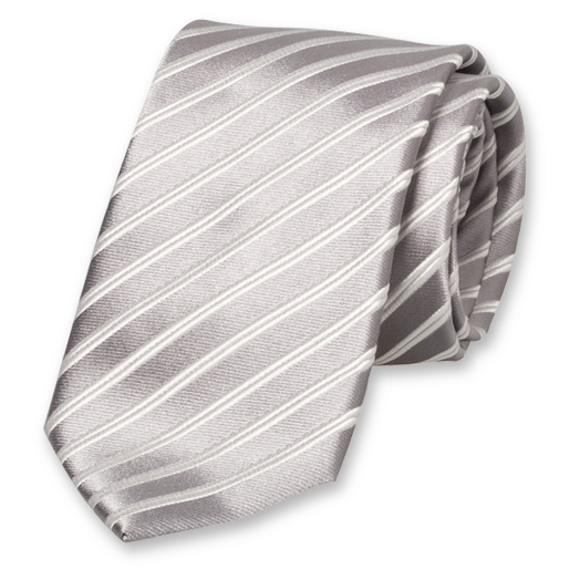 Grey-White Striped Tie - Silk (1)