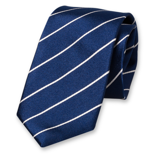 Dark Blue-White Striped Tie - Silk (1)