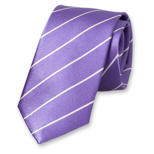 Lilac-White Striped Tie - Silk (1)