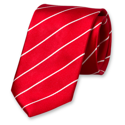 Red-White Satin Striped Tie - Silk (1)