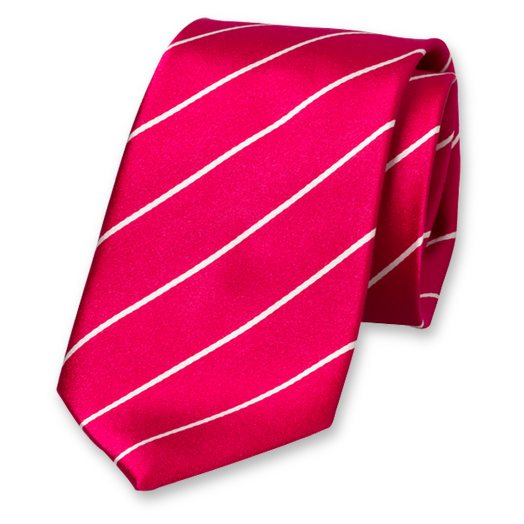 Fuchsia-White Striped Tie - Silk (1)