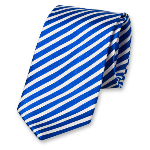 Royal Blue-White Striped Tie - Silk (1)