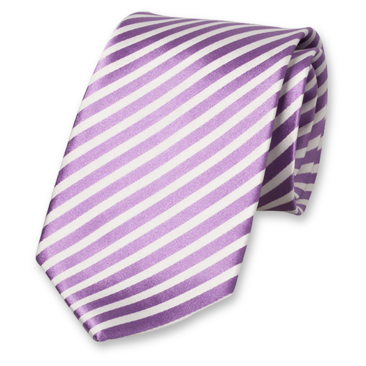 Lilac-White Satin Striped Tie - Silk (1)