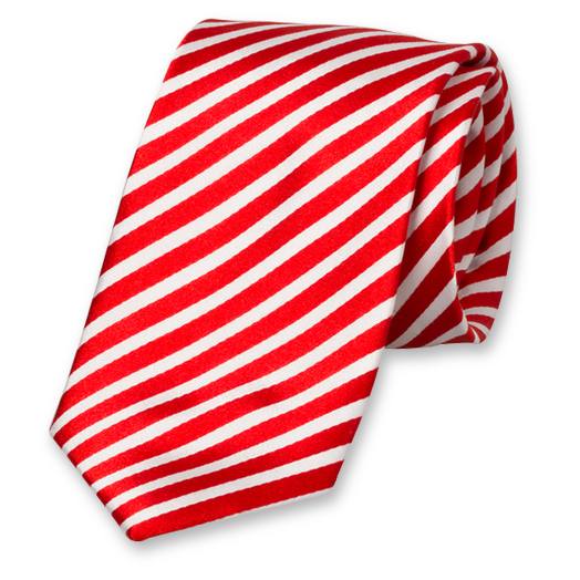 Red-White Tie with Stripes - Silk (1)