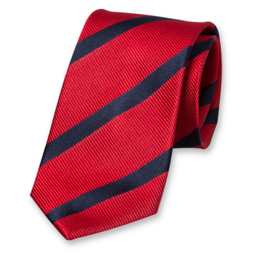 Red-Dark Blue Striped Tie - Silk (1)