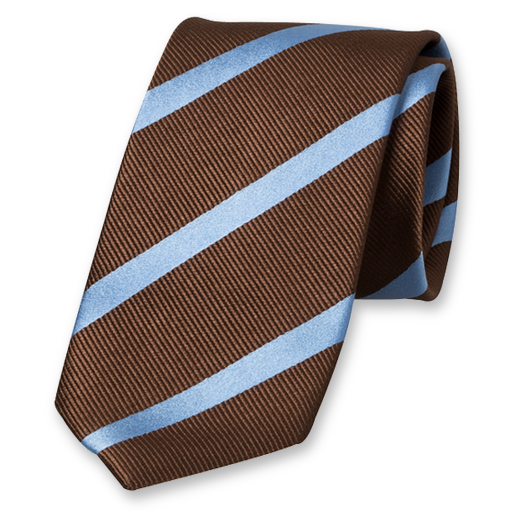 Brown-Blue Striped Tie - Silk (1)
