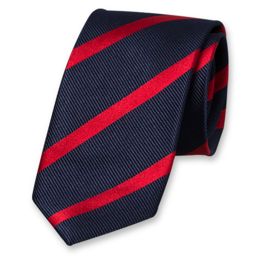 Dark Blue-Red Striped Tie - Silk (1)