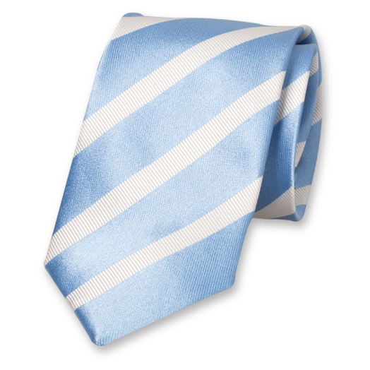 Light Blue-White Tie with Stripes - Silk (1)