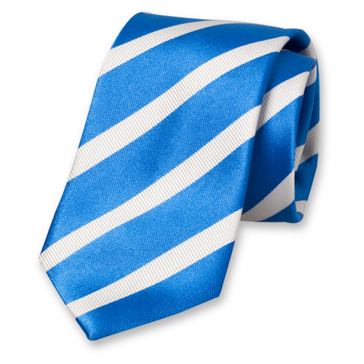 Cobalt Blue-White Striped Tie - Silk (1)