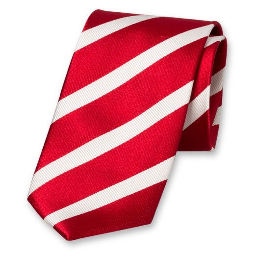 Red-White Tie with Striped Design - Silk (1)
