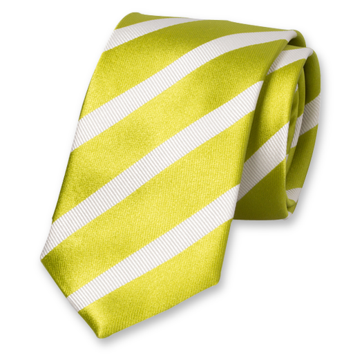 Lime-White Striped Tie - Silk (1)