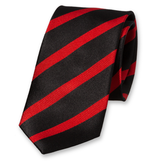 Black-Red Striped Tie - Silk (1)