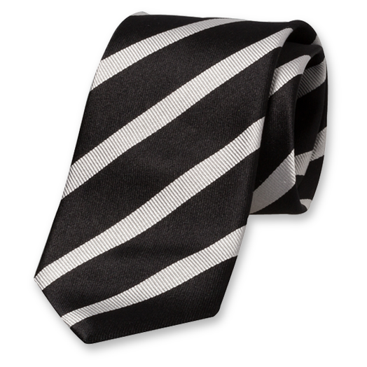 Black-Grey Striped Tie - Silk (1)