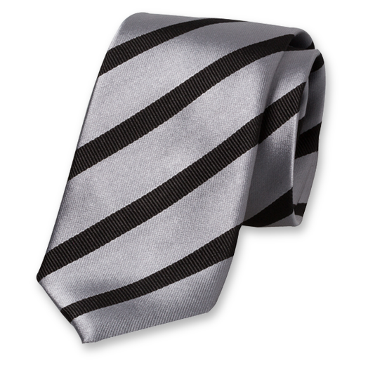 Grey-Black Striped Tie - Silk (1)