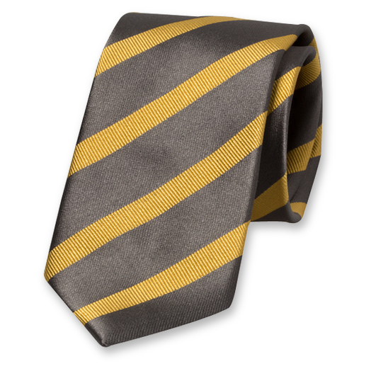 Grey-Gold Striped Tie - Silk (1)