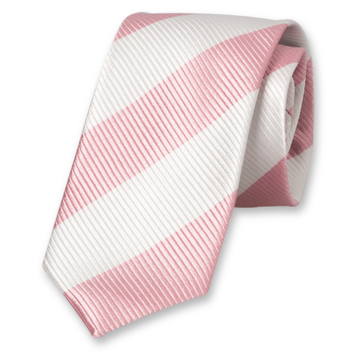 Pink-White Wide Striped Tie - Silk (1)