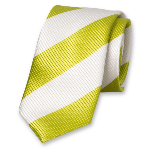 Lime-White Wide Striped Tie - Silk (1)