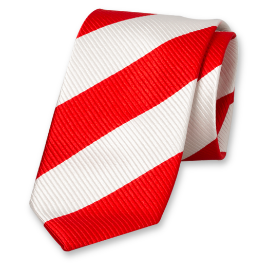 Red-White Wide Striped Tie - Silk (1)