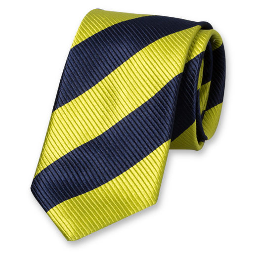 Lime-Dark Blue Wide Striped Tie - Silk (1)