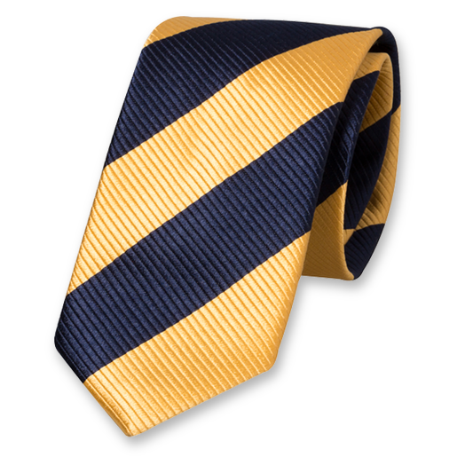 Yellow-Dark Blue Wide Striped Tie - Silk (1)