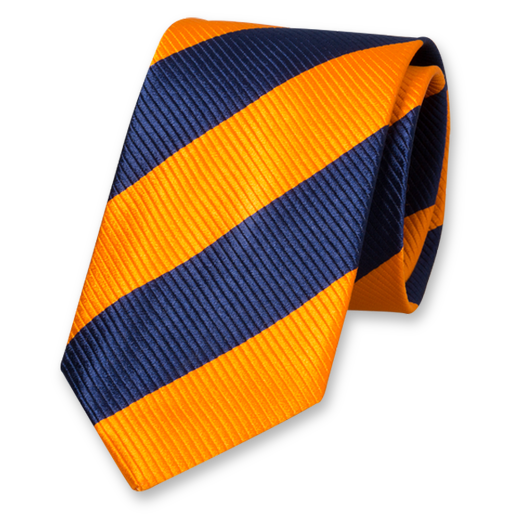 Dark Blue-Orange Wide Striped Tie - Silk (1)