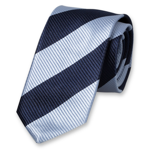 Dark Blue-Navy Wide Striped Tie - Silk (1)