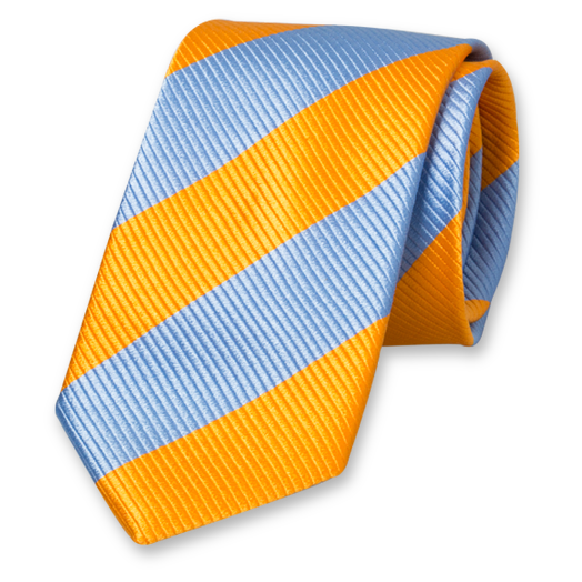Blue-Orange Wide Striped Tie - Silk (1)