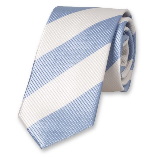 Blue-White Wide Striped Tie - Silk (1)