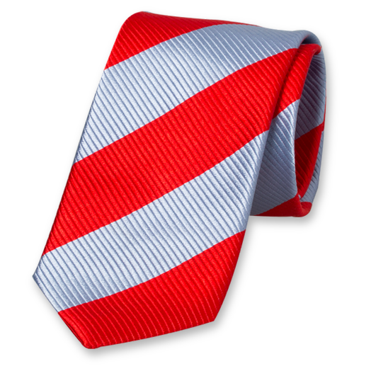 Blue-Red Wide Striped Tie - Silk (1)