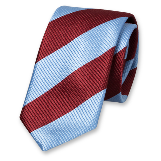Blue-Burgundy Wide Striped Tie - Silk (1)