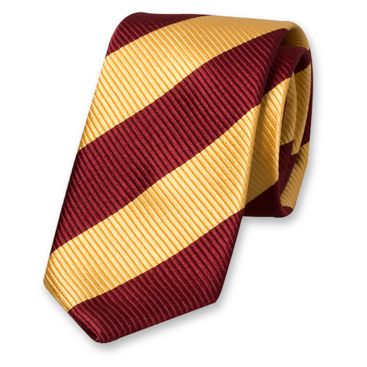 Yellow-Burgundy Wide Striped Tie - Silk (1)