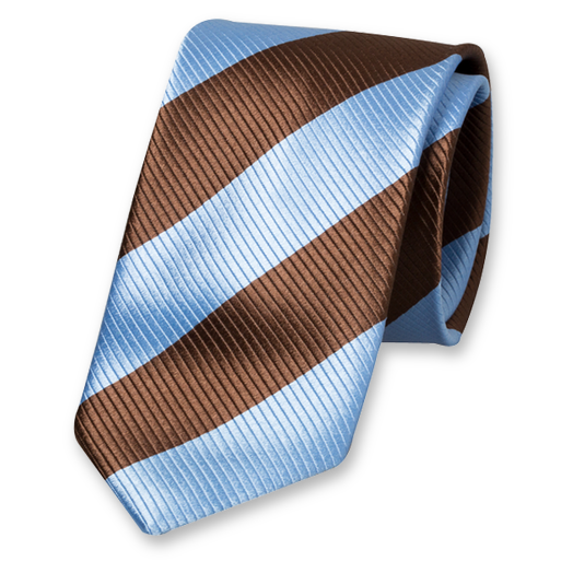 Blue-Brown Wide Striped Tie - Silk (1)