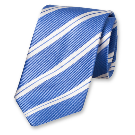 Blue Tie with White Stripes - Silk (1)