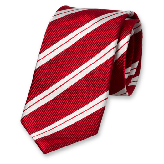 Red Tie with White Stripes - Silk (1)