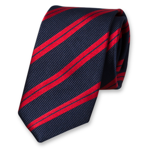 Dark Blue Tie with Red Stripes - Silk (1)