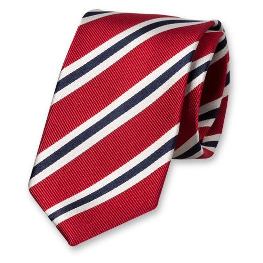 Red-White-Dark Blue Tie - Silk (1)