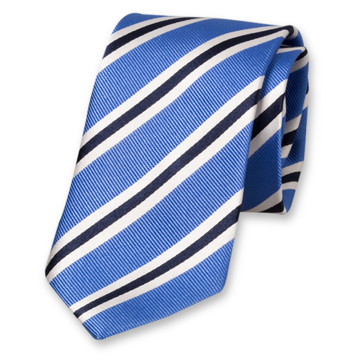 Blue-White-Dark Blue Tie - Silk (1)