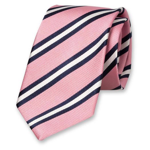 Pink-White-Dark Blue Tie - Silk (1)