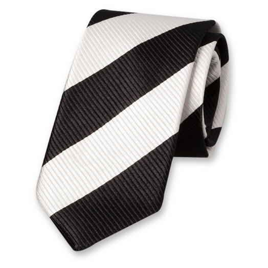 Black-White Wide Striped Tie - Silk (1)