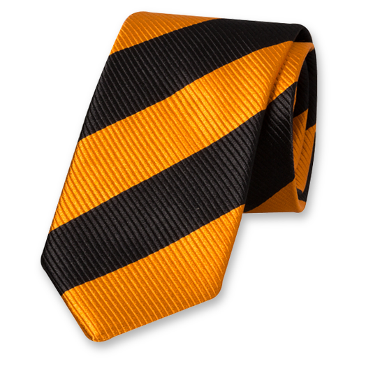 Black-Orange Wide Striped Tie - Silk (1)