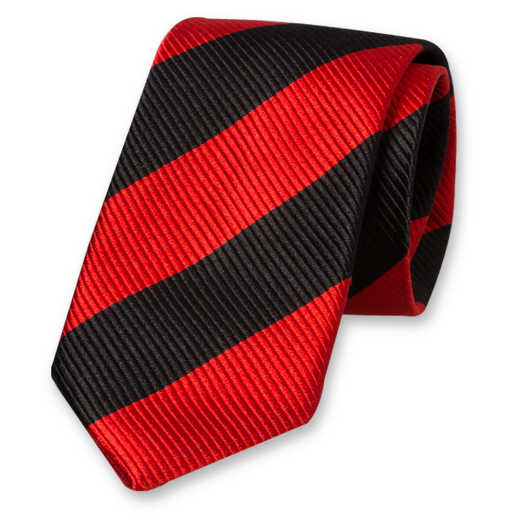 Red-Black Wide Striped Tie - Silk (1)