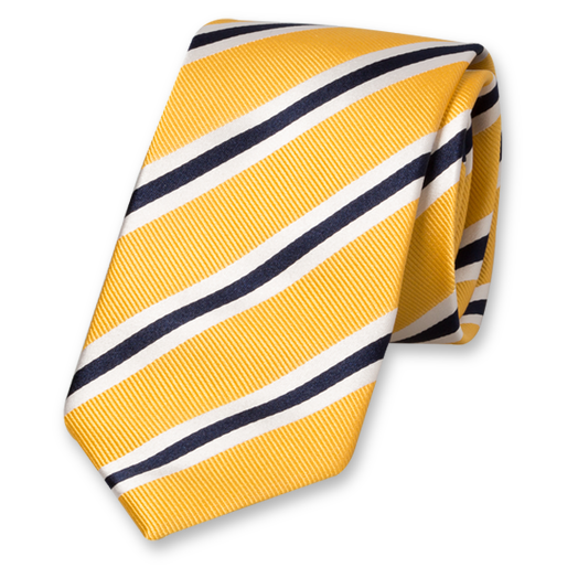 Yellow-White-Dark Blue Tie - Silk (1)