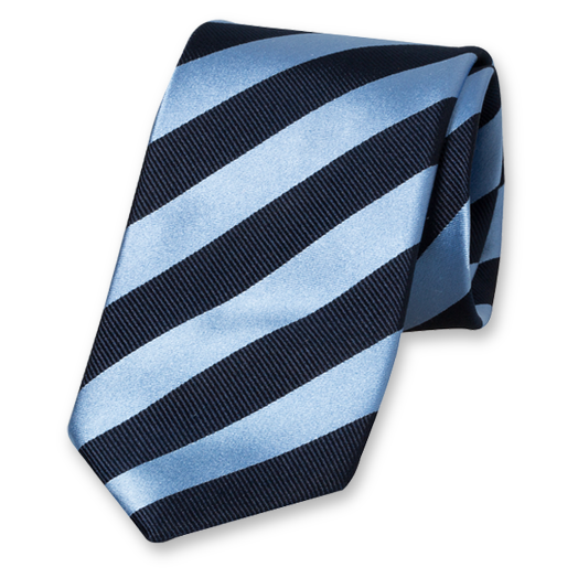 Dark Blue-Blue Striped Tie - Satin Silk (1)