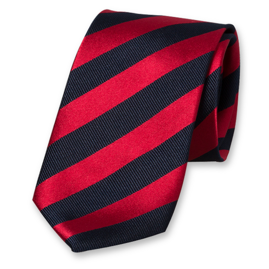 Red-Dark Blue Striped Tie - Satin Silk (1)