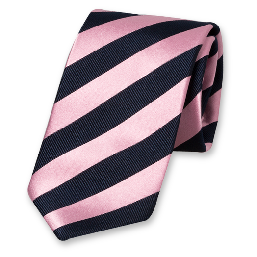 Pink-Dark Blue Striped Tie - Satin Silk (1)