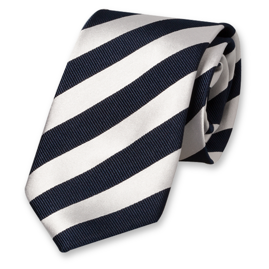 Blue-White Striped Tie - Satin Silk (1)