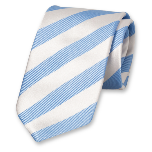 White-Blue Striped Tie - Satin Silk (1)